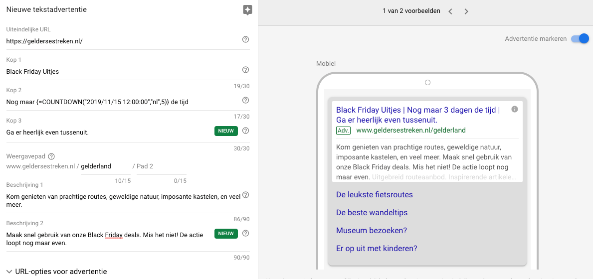 Countdown in Google Ads advertentie